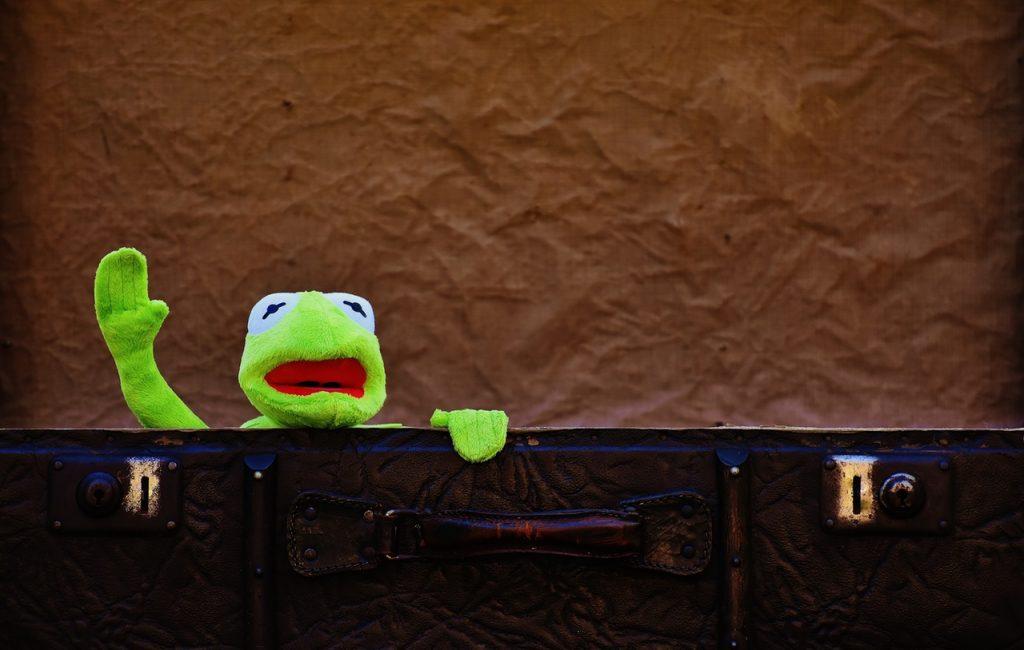 Kermit fait signe depuis sa valise